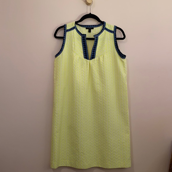 JCrew Yellow and Blue Midi Dress Size 2